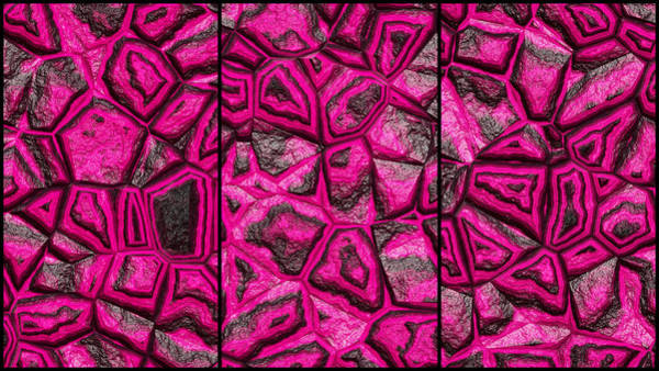 Digital Art - Colorful Pink Wall Abstract Triptych by Don Northup