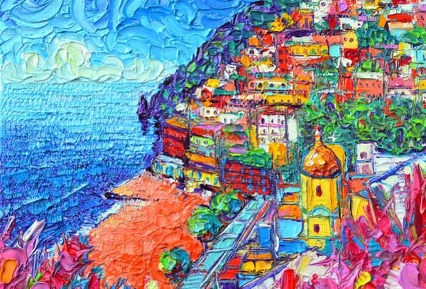 Painting - Colorful Positano Amalfi Coast Italy Impasto Textural Palette Knife Oil Painting Ana Maria Edulescu by Ana Maria Edulescu