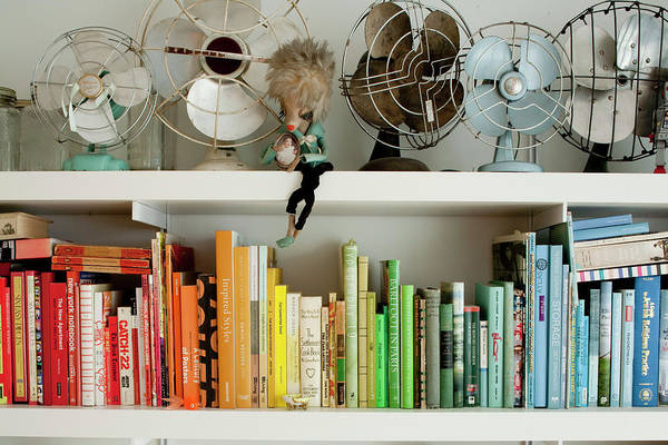 Offbeat Photograph - Colorful Quirky Bookshelf by Susie Cushner
