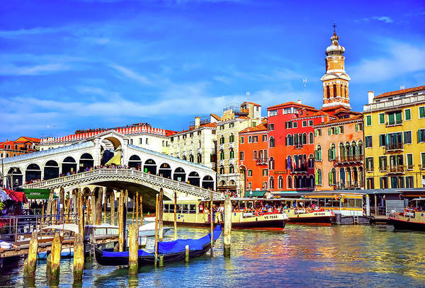 Balcony Photograph - Colorful Rialto Bridge by William Perry