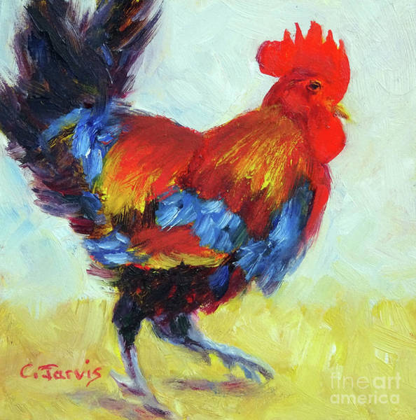 Painting - Colorful Rooster by Carolyn Jarvis