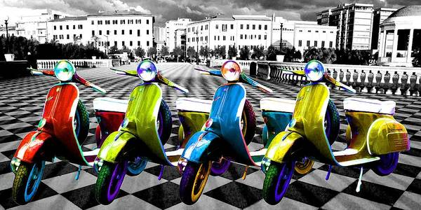 Courage Digital Art - Colorful Scooter by ArtMarketJapan