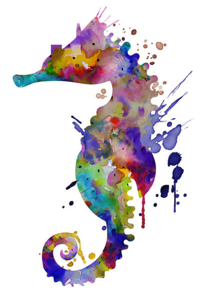 Wall Art - Painting - Colorful Seahorse Silhouette by Marian Voicu