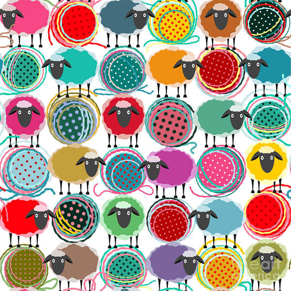 Wall Art - Digital Art - Colorful Seamless Sheep And Yarn Balls by Popmarleo