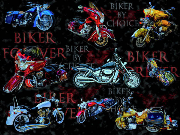 Silver And Gold Digital Art - Colorful Shiny Bikes Galore by Debra and Dave Vanderlaan
