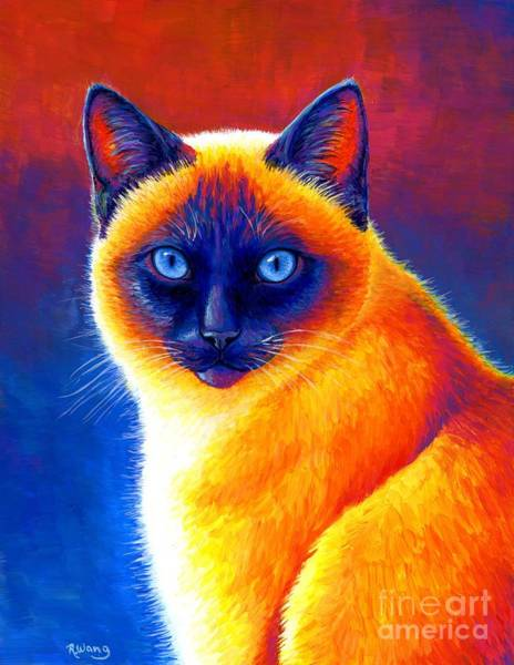 Painting - Jewel Of The Orient - Colorful Siamese Cat by Rebecca Wang