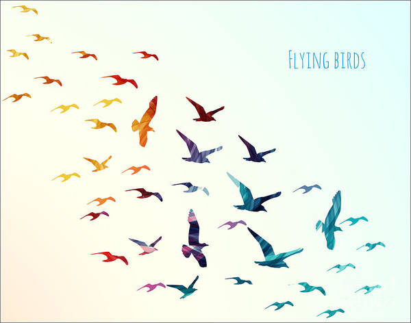 Flock Wall Art - Digital Art - Colorful Silhouettes Of Flying Birds by Ajgul