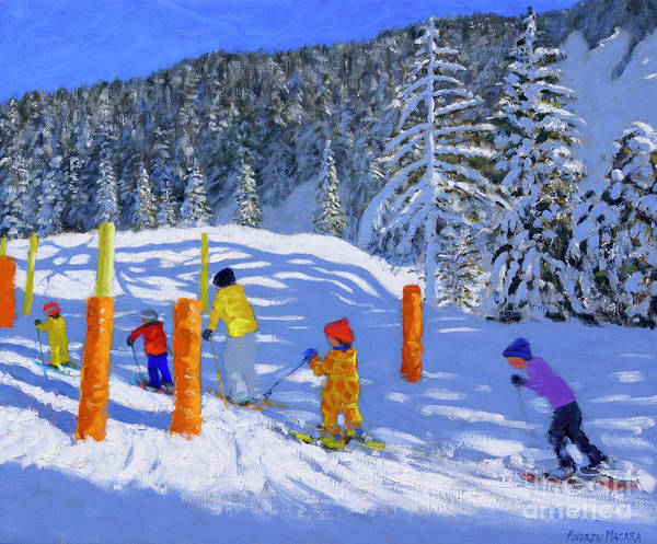 Painting - Colorful Skiing, Les Arcs, France, 2018 by Andrew Macara