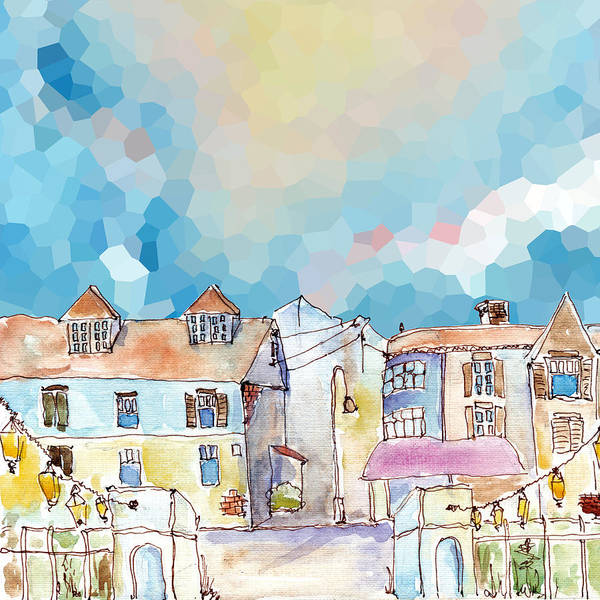 Brick House Mixed Media -  Colorful Street In Old Town Under Abstract Sky by Elena Sysoeva