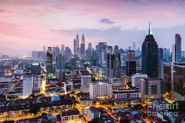 Wall Art - Photograph - Colorful Sunrise Over Kuala Lumpur Skyline, Malaysia by Matteo Colombo