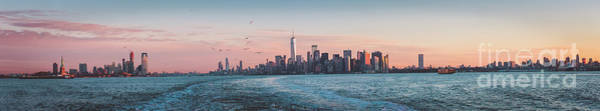Photograph - Colorful Sunrise Over The New York Skyline And The Statue Of Lib by PorqueNo Studios
