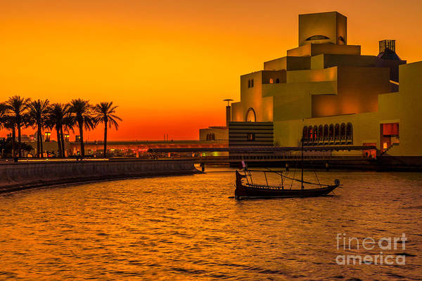 Photograph - Colorful Sunset At Doha Bay by Benny Marty