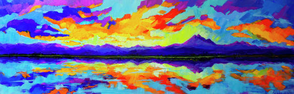 Painting - Colorful Sunset At Mcintosh Lake, Colorado Mountain Range by Patricia Awapara