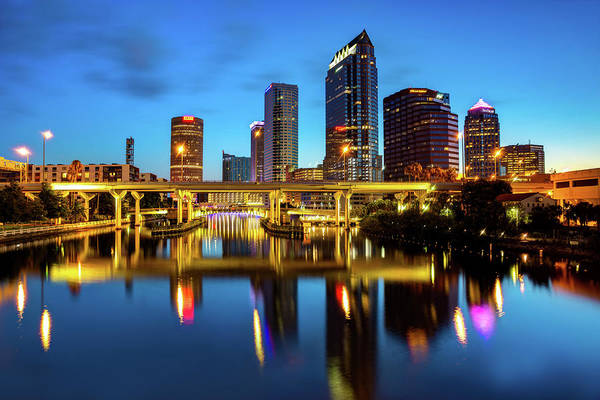 Wall Art - Photograph - Colorful Tampa Florida Skyline Reflections by Gregory Ballos