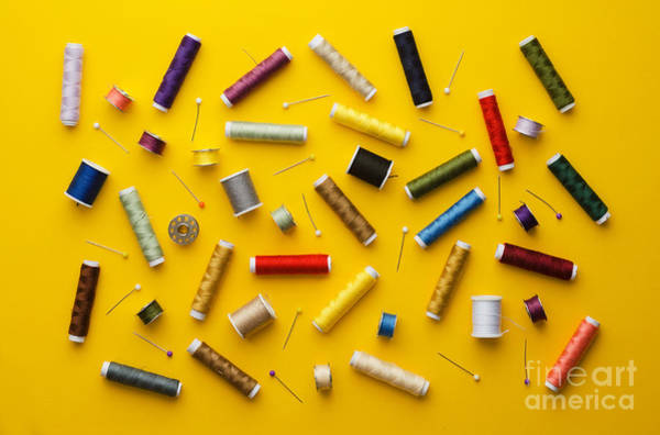 Wall Art - Photograph - Colorful Thread Spools Disorganized by Bogdandimages