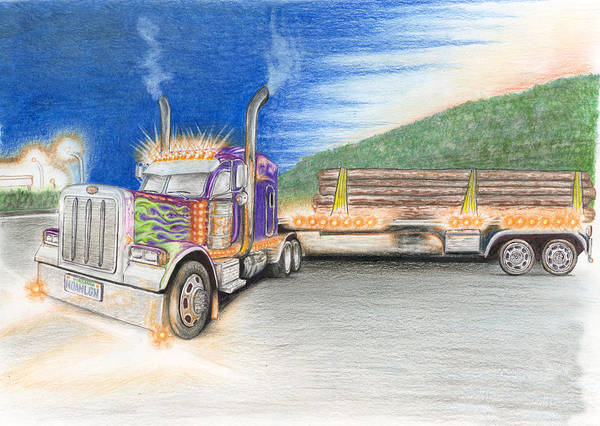 Trailer Drawing - Colorful Tractor by J D Widener