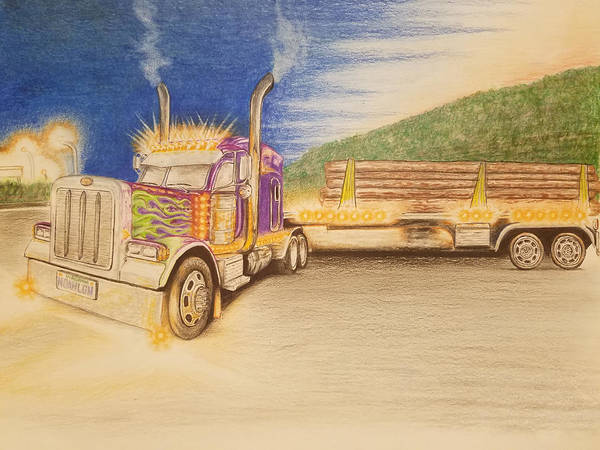 Trailer Drawing - Colorful Tractor by JW Widener