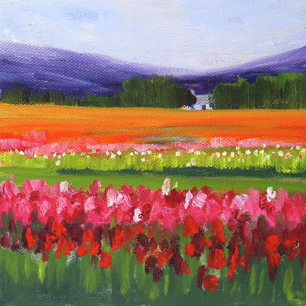 Painting - Colorful Tulip Field Landscape by Nancy Merkle