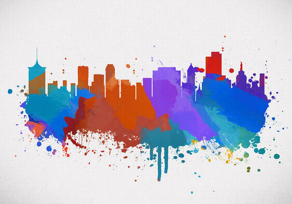 Wall Art - Painting - Colorful Tulsa Skyline by Dan Sproul