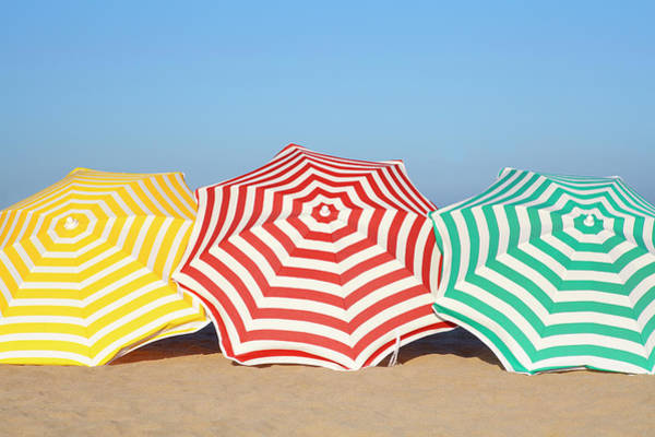 Sunshade Photograph - Colorful Umbrellas On Beach by Leila Mendez