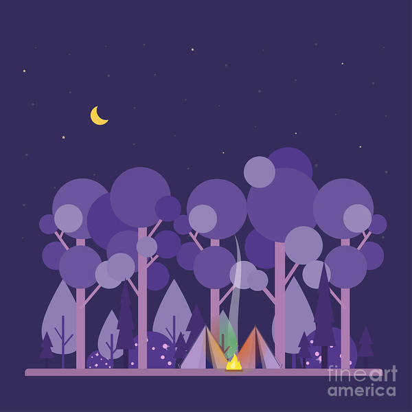 Camp Wall Art - Digital Art - Colorful Vector Concept With Camping by Twins nika