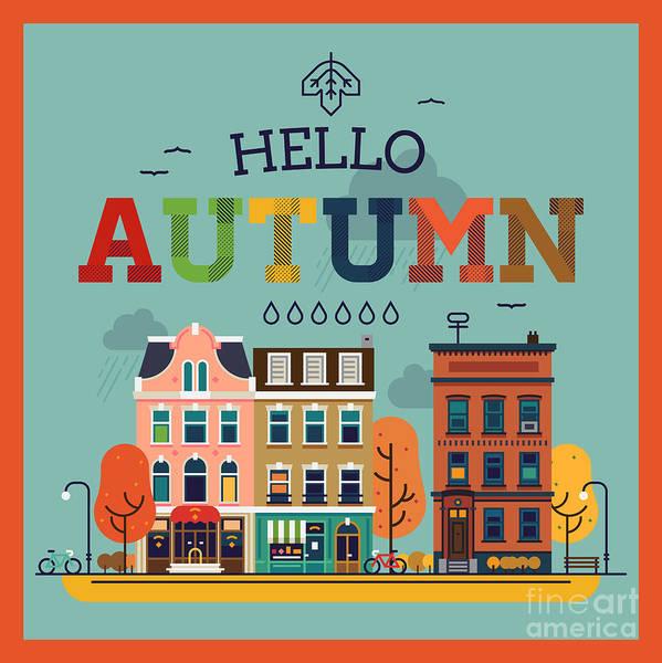Gold Leaves Digital Art - Colorful Vector Hello Autumn Seasonal by Mascha Tace