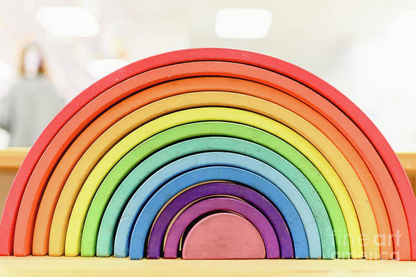 Colorful Waldorf Wooden Rainbow In A Montessori Teaching Pedagogy Classroom. Art Print