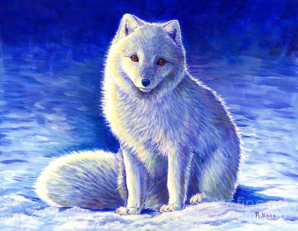 Painting - Colorful Winter Arctic Fox by Rebecca Wang