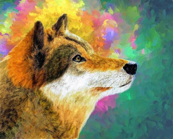 Wall Art - Painting - Colorful Wolf by ArtMarketJapan