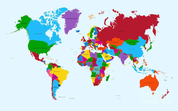 Hemisphere Wall Art - Digital Art - Colorful World Map Countries With Text by Cienpies Design