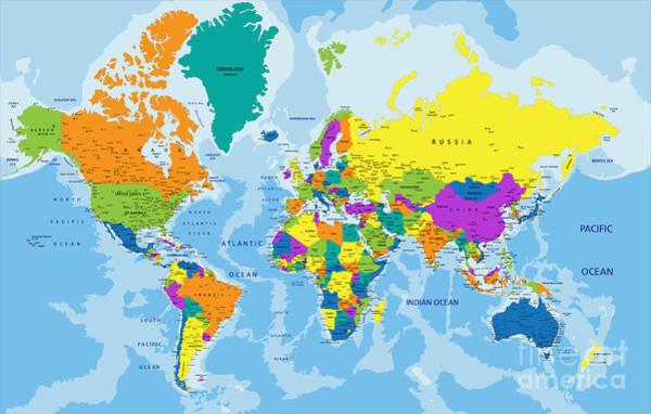 Pastel Colors Digital Art - Colorful World Political Map With by Bardocz Peter
