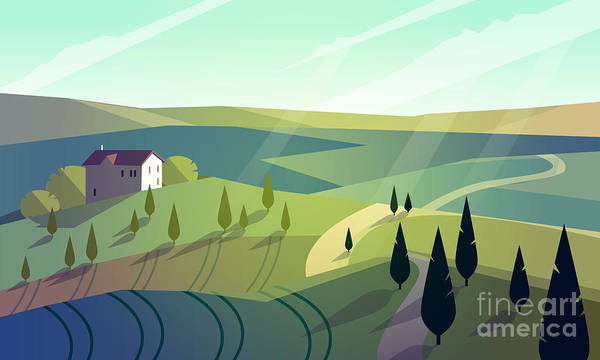 Wall Art - Digital Art - Colorfull Cartoon Flat Landscape Vector by Poppy field