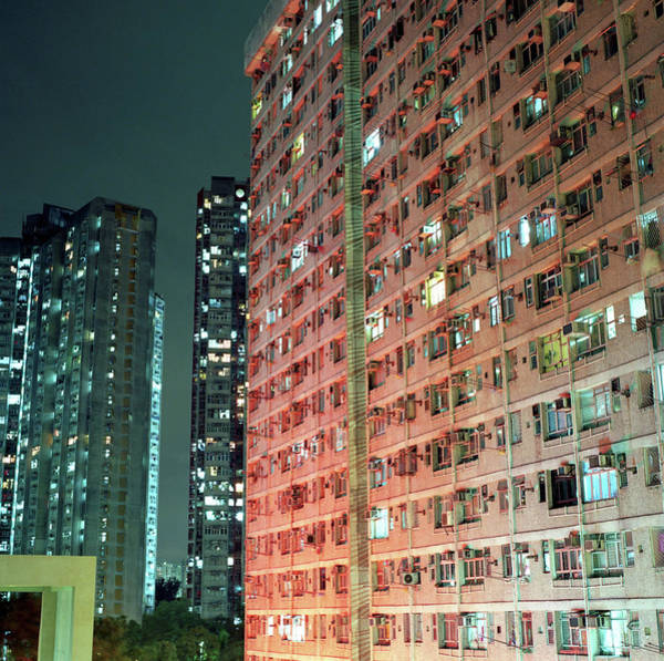 Housing Development Photograph - Colors Of A Housing Estate At Night by Kevin Liu