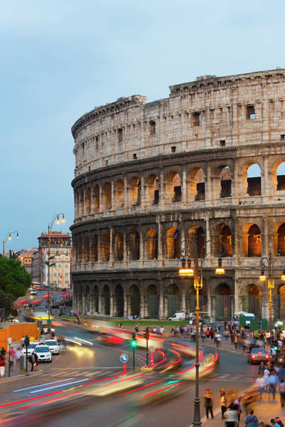 The Past Photograph - Colosseum Illuminated At Dusk With by Guy Vanderelst