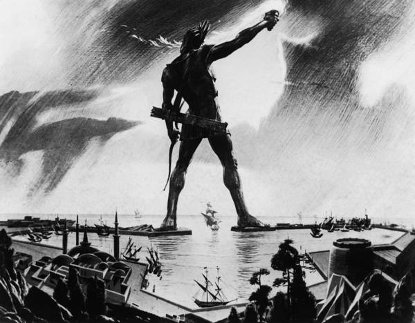 Lion Statue Photograph - Colossus Of Rhodes by Three Lions