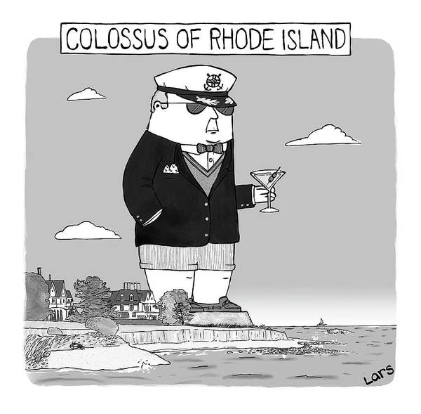 Drawing - Colossus Of Rhone Island by Lars Kenseth