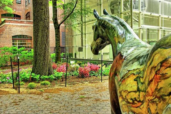 Wall Art - Photograph - Coloured Horse Sculpture By Museum Of Natural History, Manhattan, New York by Zal Latzkovich