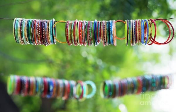 Photograph - Coloured Indian Bangles by Tim Gainey