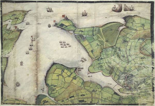 Wall Art - Painting - Coloured Manuscript Plan Of Falmouth Haven  Or Harbour  by Celestial Images