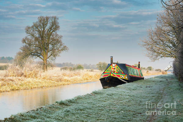 Photograph - Colourful Barge On A Frosty Canal by Tim Gainey