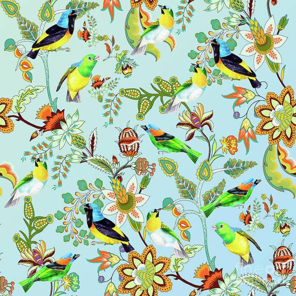 Digital Art - Colourful Birds Chintz Multicolour Floral Pattern by Sharon Mau