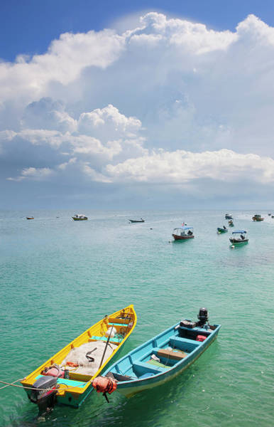 Moored Photograph - Colourful Boats Moored Storm Clouds Out by Laurie Noble