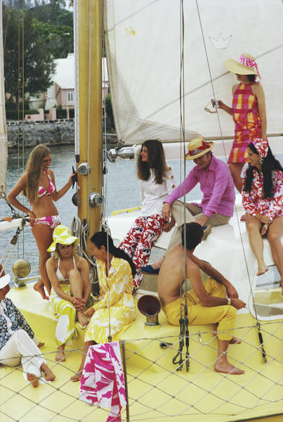 Group Of People Photograph - Colourful Crew by Slim Aarons