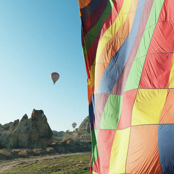 Nevsehir Photograph - Colourful Hot Air Balloons In Flight by Keith Levit / Design Pics