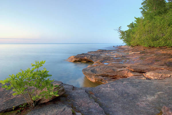Lake Superior Photograph - Colourful Rocky Beach At Sunset by Philippe Widling / Design Pics