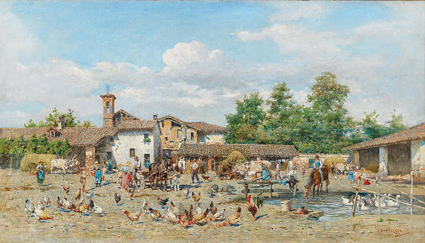 Painting - Colourful Village Life by Enrico Bartezago