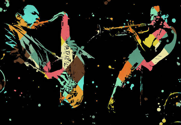 Painting - Coltrane And Miles Jam by Dan Sproul