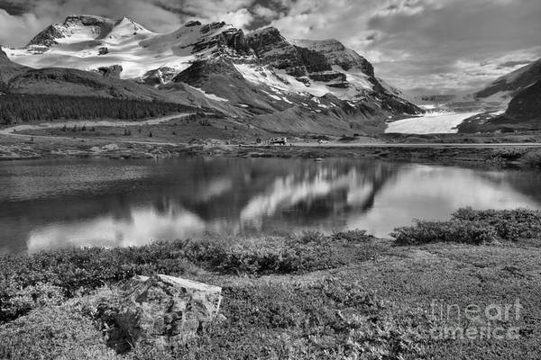 Wall Art - Photograph - Columbia Icefield Reflections Black And White by Adam Jewell