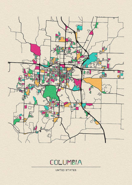 Wall Art - Drawing - Columbia, Missouri City Map by Inspirowl Design