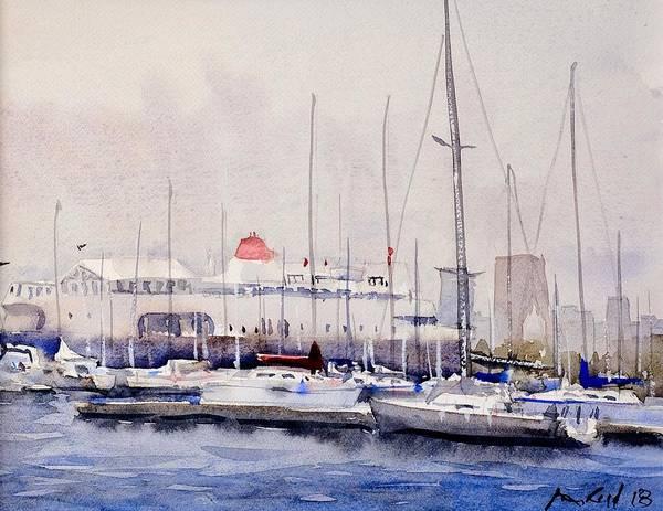 Manhattan Skyline Painting - Columbia Yacht Club by Max Good
